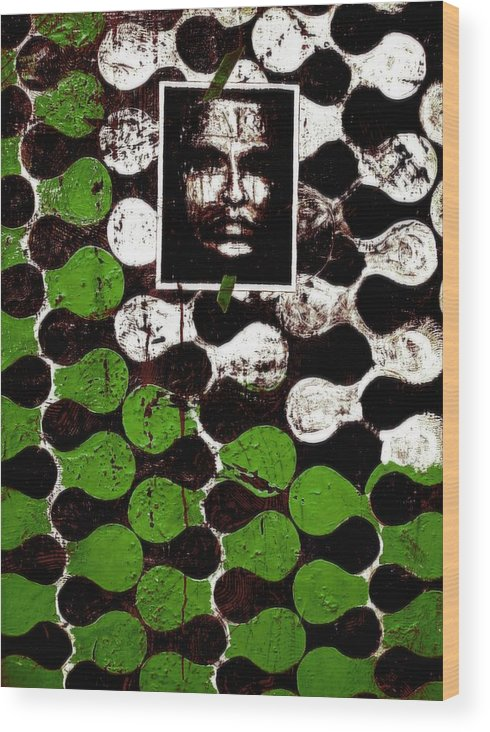 Mixed Media Prints Wood Print featuring the painting Dna Fingerprints by Teo Santa