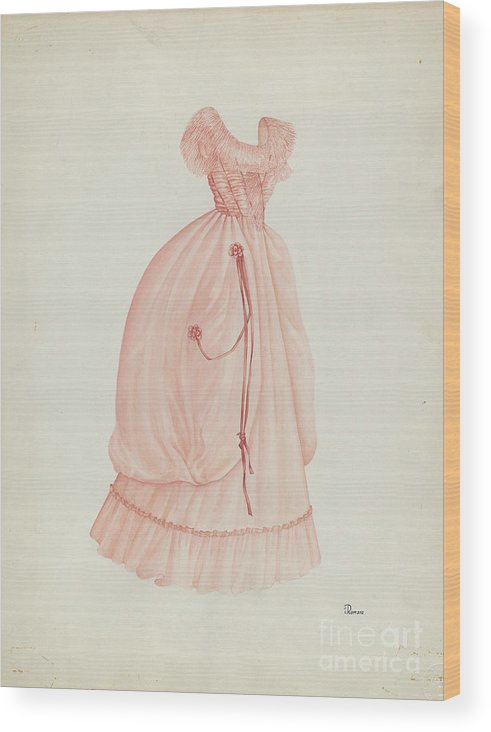 Wood Print featuring the drawing Dress by Josephine C. Romano
