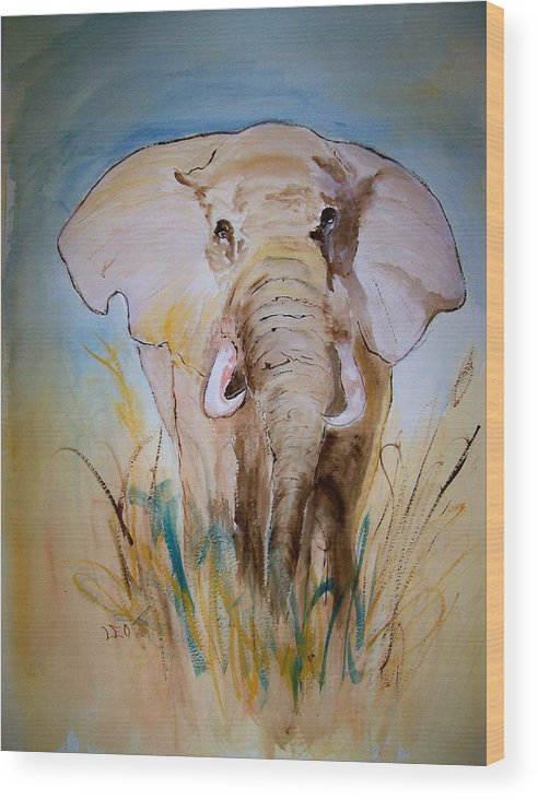 Animal Wood Print featuring the painting Elephant In The Field by Leo Gordon