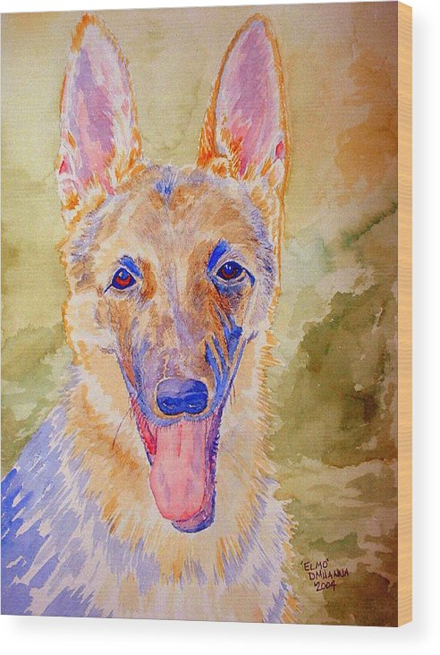 German Shepard Wood Print featuring the painting Elmo - Watercolor by Donna Hanna