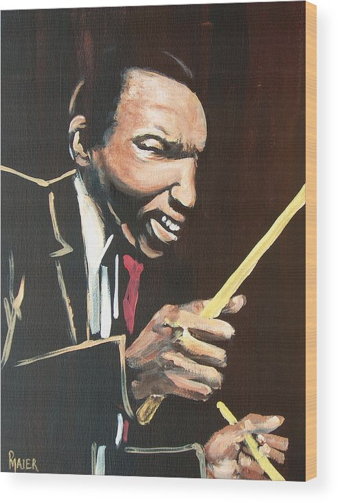 Jazz Wood Print featuring the painting Elvin Vi by Pete Maier