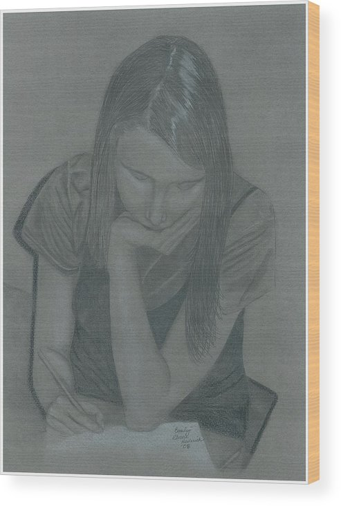 Charcoal Wood Print featuring the drawing Emily by Rhonda Rodericks
