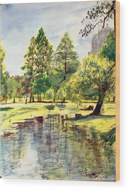 Watercolor Wood Print featuring the painting En El Parque A Mediodia by Horacio Prada