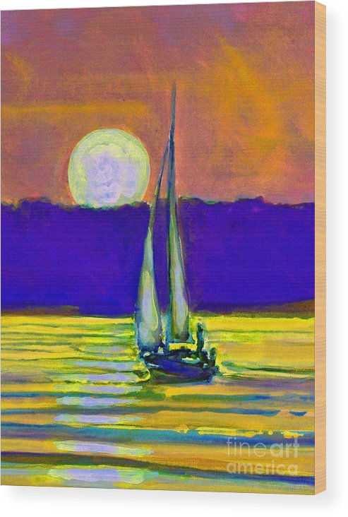Sailing Moonlight Wood Print featuring the painting Eventful Evening I by Kip Decker