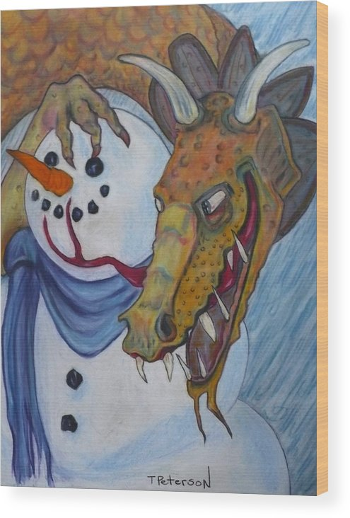 Dragon Wood Print featuring the painting Ever Have One Of Those Days by Todd Peterson