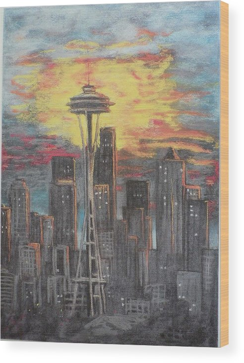 Sunset Cloudy Sky Wood Print featuring the painting Eye On The Needle by Dan Bozich