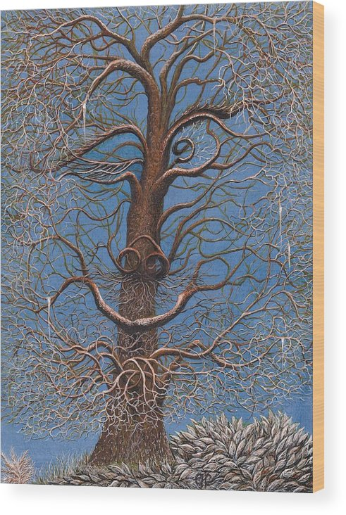 Wood Print featuring the painting Facing A Frosty Sunset 2010 by Charles Cater