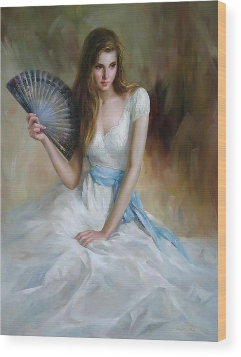 Figurative Painting Wood Print featuring the painting Fan by Kelvin Lei