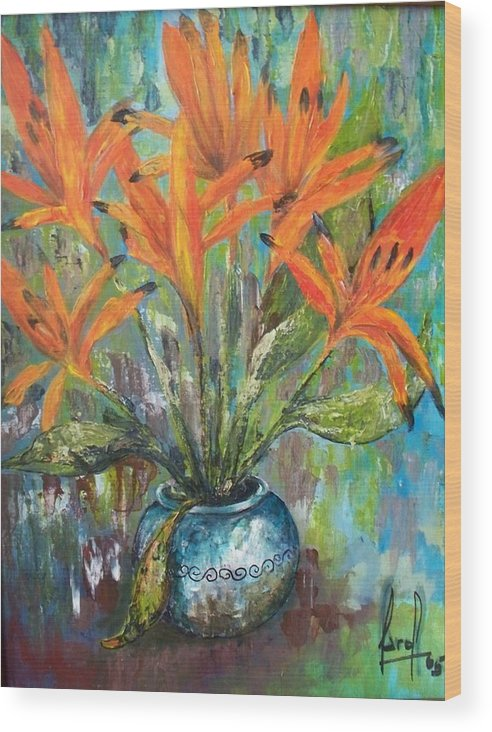 Wood Print featuring the painting Fire Flowers by Carol P Kingsley