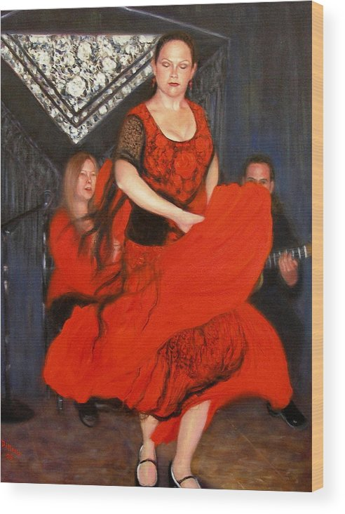 Realism Wood Print featuring the painting Flamenco 8 by Donelli DiMaria