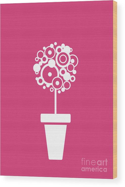 Flower Wood Print featuring the digital art Flower Vase On Magenta by Flavio Coelho