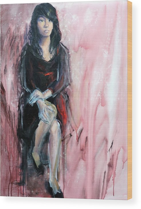 Woman Wood Print featuring the painting from the Red Tent series too by Jodie Marie Anne Richardson Traugott     aka jm-ART