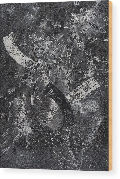 Abstract Wood Print featuring the painting Garanti Tout Cuir by Dominique Boutaud