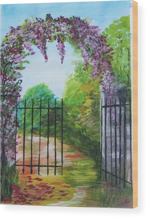 Flowers Wood Print featuring the painting Garden Entrance by Trilby Cole