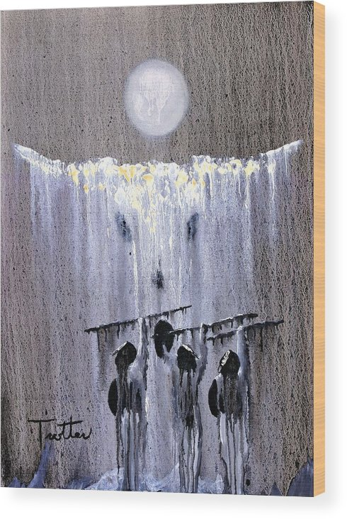American Indian Wood Print featuring the painting Ghost Dance by Patrick Trotter