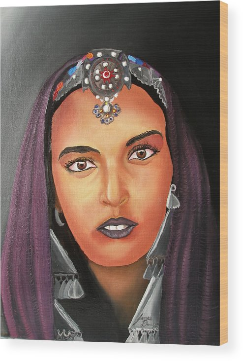 This One Is An Original Work Of Art! It Would Be A Great Buy For The Morocco Lover!!!!!! Wood Print featuring the painting Girl Of Morocco by Dunbar's Modern Art