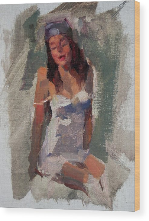 Figurative Wood Print featuring the painting Glam Girl by Merle Keller