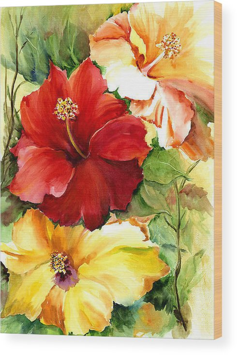 Flower Wood Print featuring the painting Glorious Hibiscus by Priscilla Powers