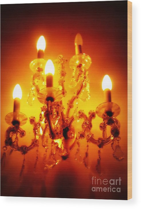 Dining Room Decor Wood Print featuring the photograph Glowing Chandelier--companion Piece by Carol Groenen