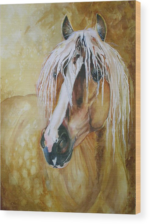 Equine Wood Print featuring the painting Golden Lance by Gina Hall