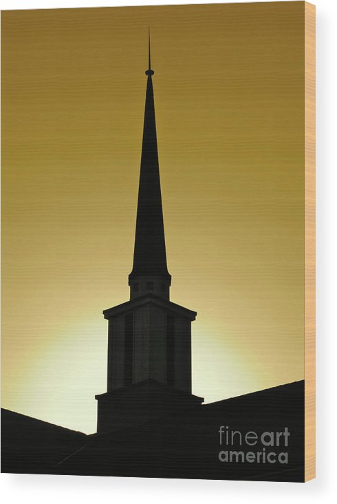 Cml Brown Wood Print featuring the photograph Golden Sky Steeple by CML Brown