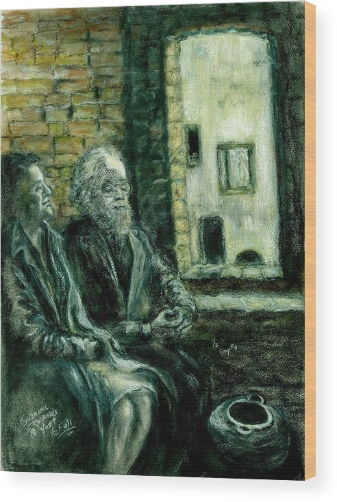Portrait Of Elderly Couple Wood Print featuring the painting Half Full Or Half Empty by Suzanne Reynolds