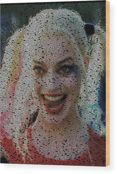 Suicide Squad Wood Print featuring the painting Harley Quinn Quotes Mosaic by Paul Van Scott