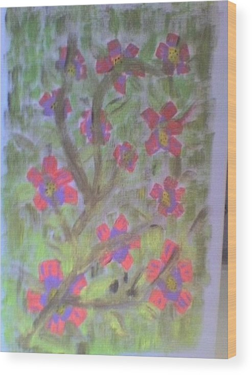 Pink Florals Wood Print featuring the painting Hds-acrylic Floral Green by Hema V Gopaluni