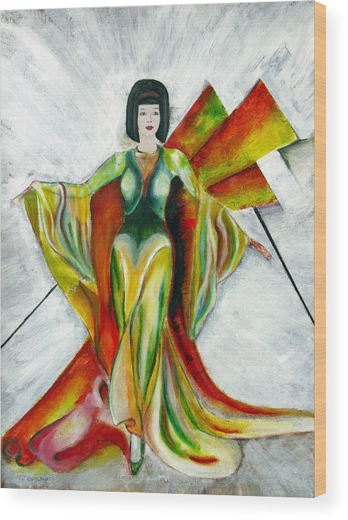 Dress Wood Print featuring the painting Here Comes The Sun by Tom Conway