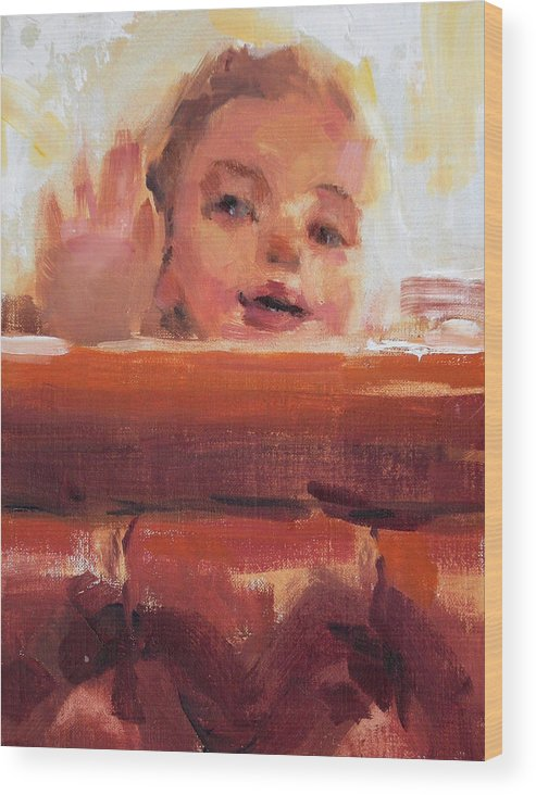 Child Wood Print featuring the painting Hi There by Merle Keller