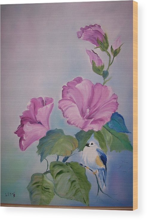 Flowers Wood Print featuring the painting Hibiscus Birdie by Leo Gordon
