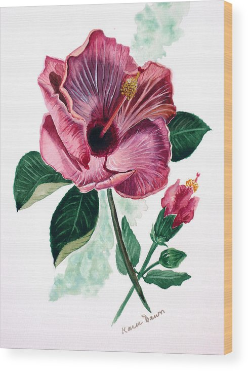 Flora Painting L Hibiscus Painting Pink Flower Painting Greeting Card Painting Wood Print featuring the painting Hibiscus Dusky Rose by Karin Dawn Kelshall- Best