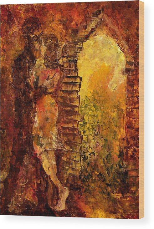 Oil Wood Print featuring the painting Hidden Kiss by Olga Gernovski