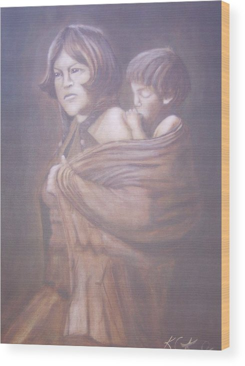 Indians Wood Print featuring the painting Hopi Mother by KC Knight