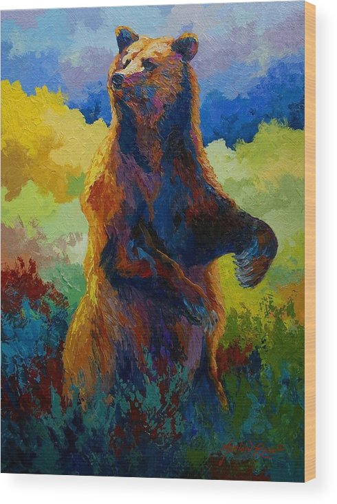 Bear Wood Print featuring the painting I Spy - Grizzly Bear by Marion Rose