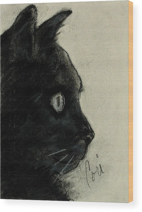 Cat Wood Print featuring the drawing In The Dark by Cori Solomon