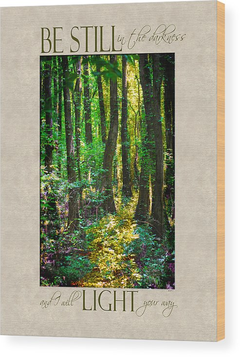 Forest Wood Print featuring the photograph In The Forest With Words by Jai Johnson