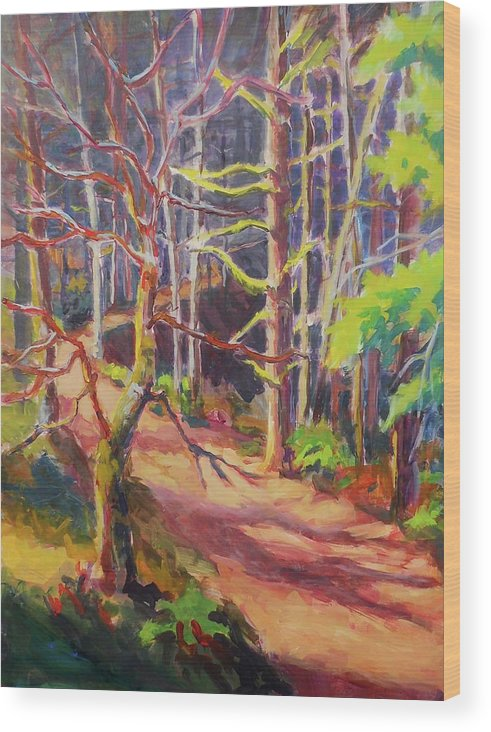Trees Wood Print featuring the painting Into The Woods II by Margaret Plumb