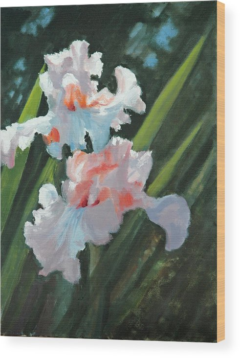 Irises Wood Print featuring the painting Iris Pour Une Belle Femme by Glenn Secrest