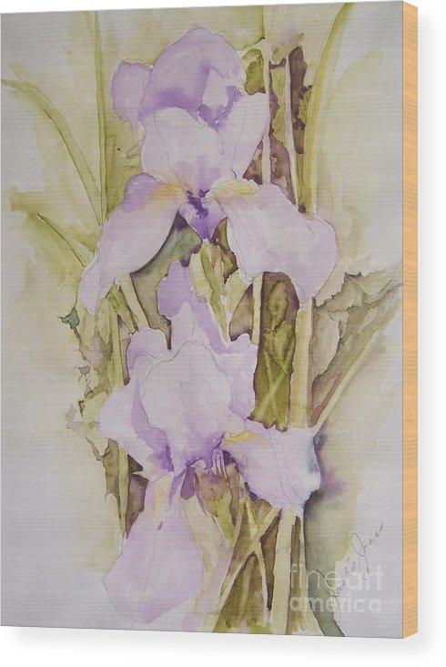 Irises Wood Print featuring the painting Irises by Jackie Mueller-Jones