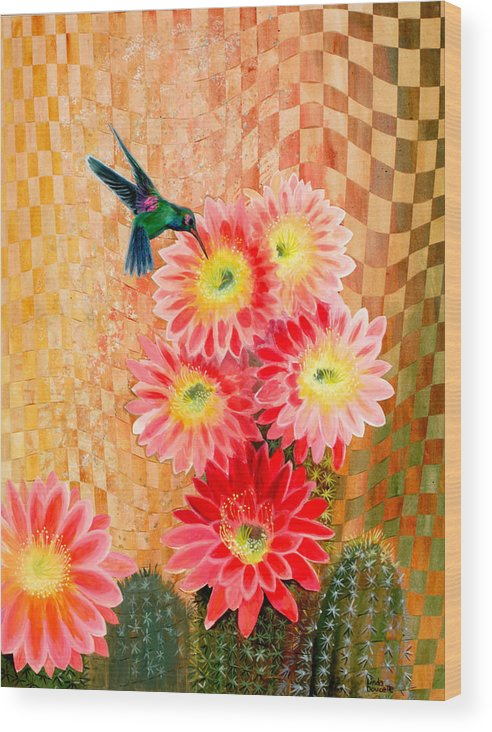 Hummingbird Wood Print featuring the painting Irresistible by Linda L Doucette
