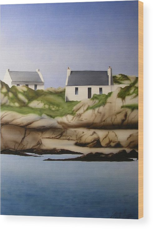 Island Cottages Ireland Seascape Wood Print featuring the painting Island Cottages by Kevin Gallagher