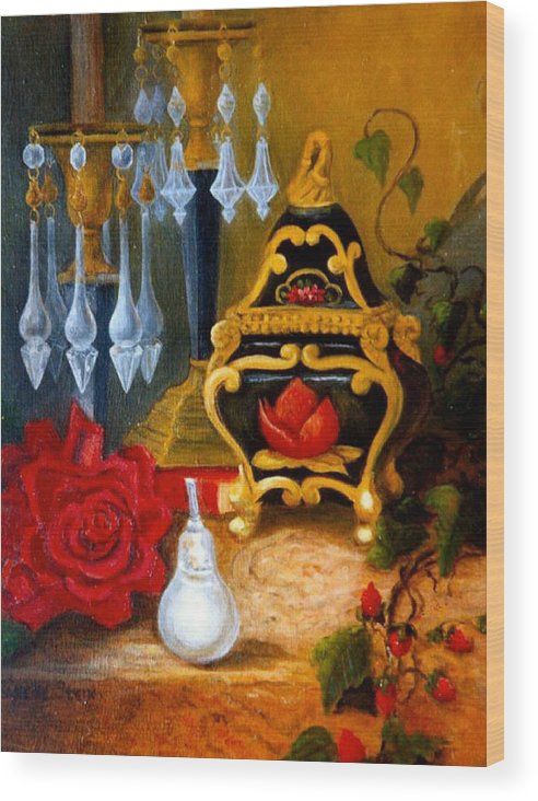 Candlesticks Wood Print featuring the digital art Italian Cache And Crystal by Jeanene Stein
