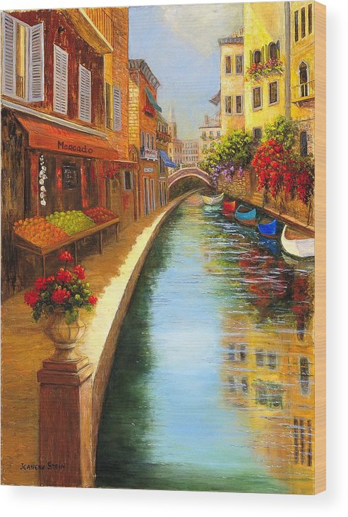 Canal. Italy Wood Print featuring the painting Italys Canal Street by Jeanene Stein
