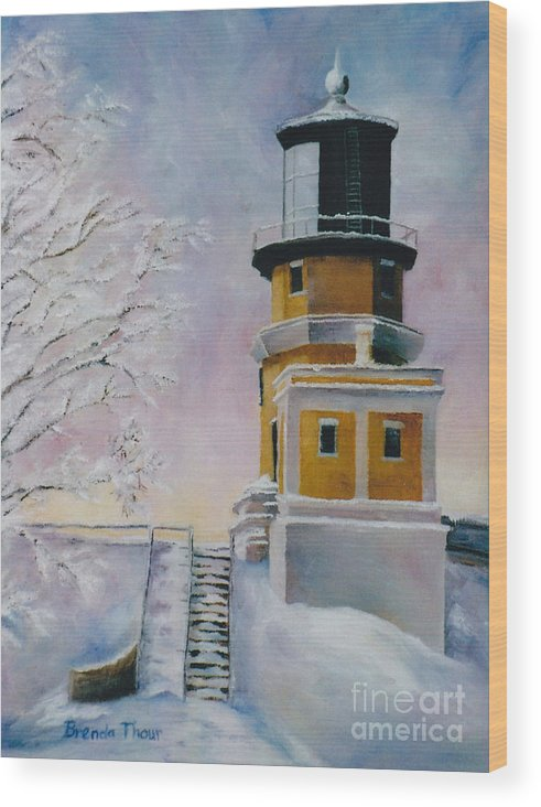 Lighthouse Wood Print featuring the painting Januarys Light by Brenda Thour