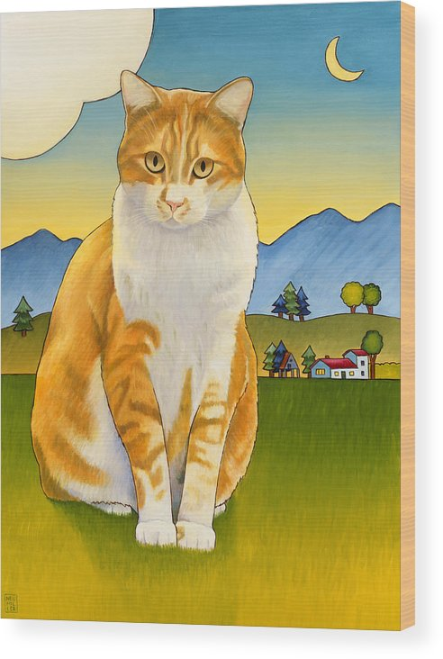 Cat Wood Print featuring the painting Jasper by Stacey Neumiller