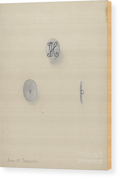 Wood Print featuring the drawing Jewelry Button by John H. Tercuzzi