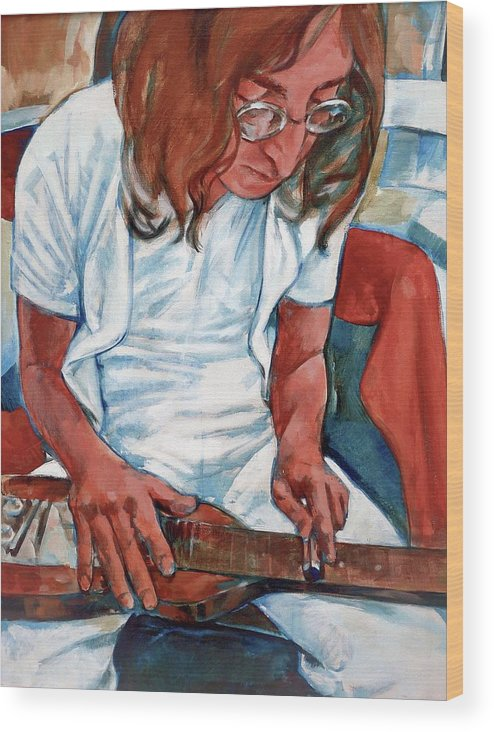 John Lennon Portrait Beatles Music Musician Rock Wood Print featuring the painting John by Scott Waters