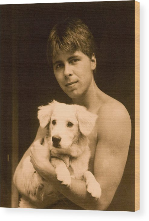 Portrait Wood Print featuring the photograph Johnny With Dog by John Toxey