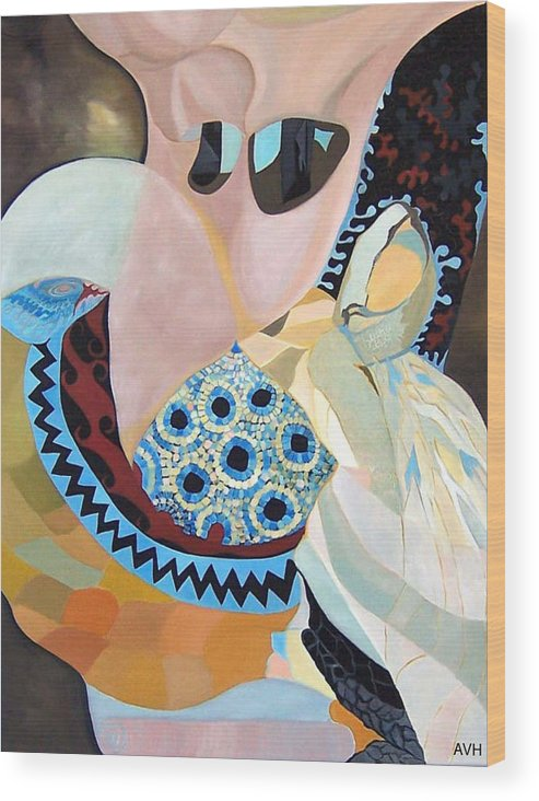 Figyrative Wood Print featuring the painting Jurney by Antoaneta Melnikova- Hillman